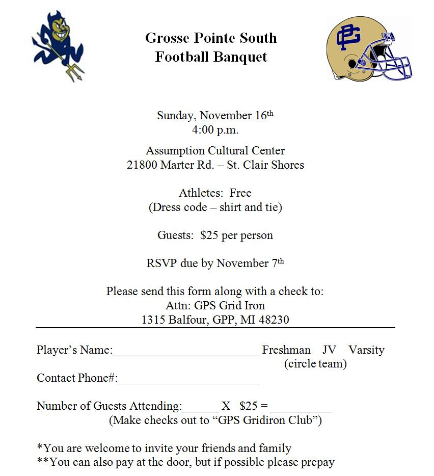 Blue devil football banquet form save your place for High school football program template